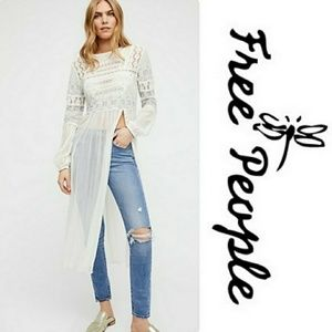 Free People White Grey Lace Long Sleeve Top